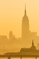 Early morning pollution hangs over New York City.