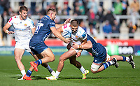 3rd October 2021; AJ Bell stadium, Eccles, Greater Manchester, England: Gallagher Premiership Rugby, Sale v Exeter ;  Dave Ewers of Exeter Chiefs is tackled by  Sam Hill and  Cobus Wiese of Sale Sharks