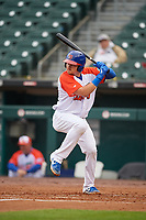 "Buffalo Bisons Reese McGuire (7) at bat during an International League game against the Scranton/Wilkes-Barre RailRiders on June 5, 2019 at Sahlen Field in Buffalo, New York.  The Bisons wore special uniforms as they played under the name the ""Buffalo Wings"". Scranton defeated Buffalo 3-0, the first game of a doubleheader. (Mike Janes/Four Seam Images)"