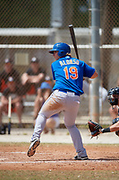 New York Mets Pete Alonso (19) bats during a minor league Spring Training game against the Miami Marlins on March 26, 2017 at the Roger Dean Stadium Complex in Jupiter, Florida.  (Mike Janes/Four Seam Images)