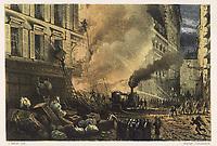 steam fire engine at work in town / J Ferat / ca 1860