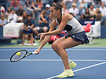 Flavia Pennetta (ITA) defeats Simone Halep (ROU) (6-1, 6-3 in the semifinals at the US Open in Flushing, NY on September 11, 2015.