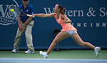 Jelena Jankovic (SRB) defeats Sloane Stephens (USA) 3-6, 7-5, 7-5 at the Western & Southern Open in Mason, OH on August 15, 2013.