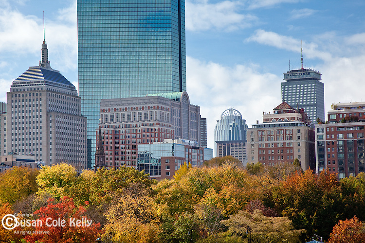 Fall foliage colors the Back Bay district in Boston, MA