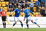 St Johnstone v Rangers…11.09.21  McDiarmid Park    SPFL<br />Michael O'Halloran celebrates his goal with Chris Kane<br />Picture by Graeme Hart.<br />Copyright Perthshire Picture Agency<br />Tel: 01738 623350  Mobile: 07990 594431