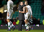 Celtic v St Johnstone…25.01.17     SPFL    Celtic Park<br />Scott Brown gets ahug from Brendan Rogers at full time after making his 400th appearance for Celtic<br />Picture by Graeme Hart.<br />Copyright Perthshire Picture Agency<br />Tel: 01738 623350  Mobile: 07990 594431