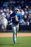 Toronto Blue Jays first baseman Cavan Biggio (67) jogs back to the dugout during a Grapefruit League Spring Training game against the New York Yankees on February 25, 2019 at George M. Steinbrenner Field in Tampa, Florida.  Yankees defeated the Blue Jays 3-0.  (Mike Janes/Four Seam Images)