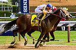 SARATOGA SPRINGS, NEW YORK - AUG 26:  Forever Unbridled, #4, ridden by Joel Rosario, wins the Personal Ensign at  Saratoga Race Course on August 26, 2017 in Saratoga Springs, New York.(Photo by Sue Kawczynski/Eclipse Sportswire/Getty Images)