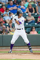 Keenyn Walker (4) of the Winston-Salem Dash at bat against the Carolina Mudcats at BB&T Ballpark on June 6, 2014 in Winston-Salem, North Carolina.  The Mudcats defeated the Dash 3-1.  (Brian Westerholt/Four Seam Images)