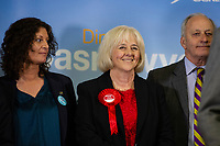 Pictured: Labour's candidate Ruth Jones (centre) after winning the Newport West by-election ballot count at the Geraint Thomas National Velodrome of Wales in Newport, South Wales, UK. Friday 05 April 2019<br /> Re: Voters in Newport West are going to the polls to elect a new member of Parliament.<br /> The seat in south east Wales became vacant following the death of Paul Flynn earlier in February.