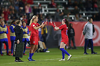 CARSON, CA - FEBRUARY 7: Lindsey Horan #9 of the United States is subbed in for Rose Lavelle #16 during a game between Mexico and USWNT at Dignity Health Sports Park on February 7, 2020 in Carson, California.