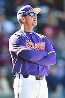 Clemson Tigers head coach Monte Lee (18) before a game against the South Carolina Gamecocks at Fluor Field on March 3, 2018 in Greenville, South Carolina. The Tigers defeated the Gamecocks 5-1. (Tony Farlow/Four Seam Images)