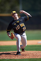 Iowa Hawkeyes relief pitcher Nick Allgeyer (24) delivers a pitch during a game against the Dartmouth Big Green on February 27, 2016 at South Charlotte Regional Park in Punta Gorda, Florida.  Iowa defeated Dartmouth 4-1.  (Mike Janes/Four Seam Images)