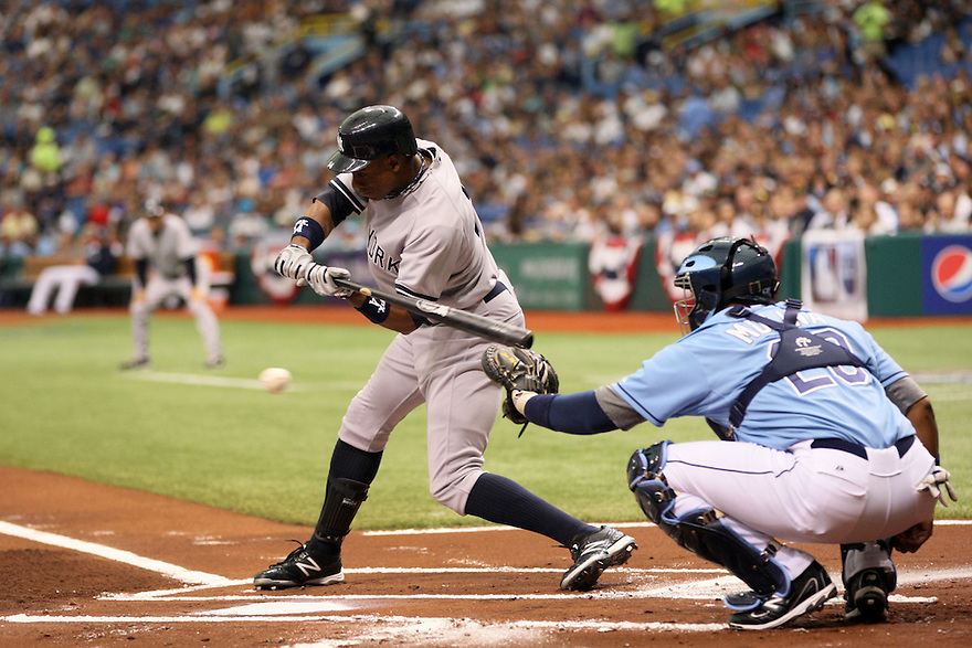 MLB New York Yankees v Tampa Rays at Tropicana field  04/08/2012.   Curtis Granderson.   photo by Trevor Collens.