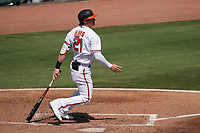 Baltimore Orioles Austin Hays (21) bats during a Major League Spring Training game against the Philadelphia Phillies on March 12, 2021 at the Ed Smith Stadium in Sarasota, Florida.  (Mike Janes/Four Seam Images)