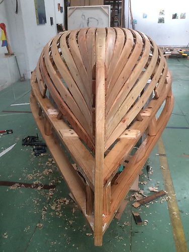 The currach made by artist Mark Redden in Barcelona for St Patrick's Day.