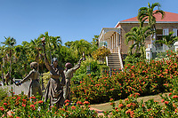 "Charlotte Amalie, St. Thomas, U.S. Virgin Islands.  Monument to the Three Women who Led the 1878 ""Fireburn"" Uprising.  Villa Notman in Background."