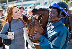 HALLANDALE BEACH, FL - JAN 28: A pony boy lets a fan pet his horse during the Pegasus World Cup Invitational Day at Gulfstream Park Race Course on January 28, 2017 in Hallandale Beach, Florida. (Photo by Scott Serio/Eclipse Sportswire/Getty Images)
