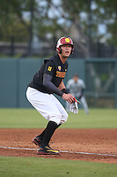 Lars Nootbaar #11 of the Southern California Trojans runs the bases during a game against the Coppin State Eagles at Dedeaux Field on February 18, 2017 in Los Angeles, California. Southern California defeated Coppin State, 22-2. (Larry Goren/Four Seam Images)