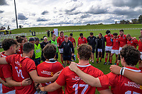 The Barbarians huddle after the 2021 Bunnings Super Rugby Aotearoa Under-20 rugby match between the Barbarians and Blues at Owen Delaney Park in Taupo, New Zealand on Tuesday, 14 April 2020. Photo: Dave Lintott / lintottphoto.co.nz