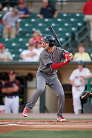 Lehigh Valley IronPigs first baseman Mitchell Walding (10) at bat during a game against the Rochester Red Wings on September 1, 2018 at Frontier Field in Rochester, New York.  Lehigh Valley defeated Rochester 2-1.  (Mike Janes/Four Seam Images)