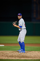 Buffalo Bisons relief pitcher Conor Fisk (49) gets ready to deliver a pitch during a game against the Syracuse Chiefs on September 2, 2018 at NBT Bank Stadium in Syracuse, New York.  Syracuse defeated Buffalo 4-3.  (Mike Janes/Four Seam Images)