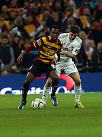 Pictured: (L-R) Zavon Hines, Ben Davies. Sunday 24 February 2013<br /> Re: Capital One Cup football final, Swansea v Bradford at the Wembley Stadium in London.