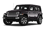 Stock pictures of low aggressive front three quarter view of a 2019 Jeep Wrangler Unlimited Sahara 5 Door SUV