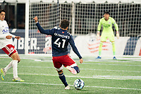 FOXBOROUGH, MA - OCTOBER 16: Colby Quinones #41 of New England Revolution II takes a shot on goal during a game between North Texas SC and New England Revolution II at Gillette Stadium on October 16, 2020 in Foxborough, Massachusetts.