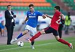 St Johnstone v FC Minsk...01.08.13 Europa League Qualifier at Neman Stadium, Grodno, Belarus...<br /> Steven MacLean is tackled by Milosi Rnic<br /> Picture by Graeme Hart.<br /> Copyright Perthshire Picture Agency<br /> Tel: 01738 623350  Mobile: 07990 594431