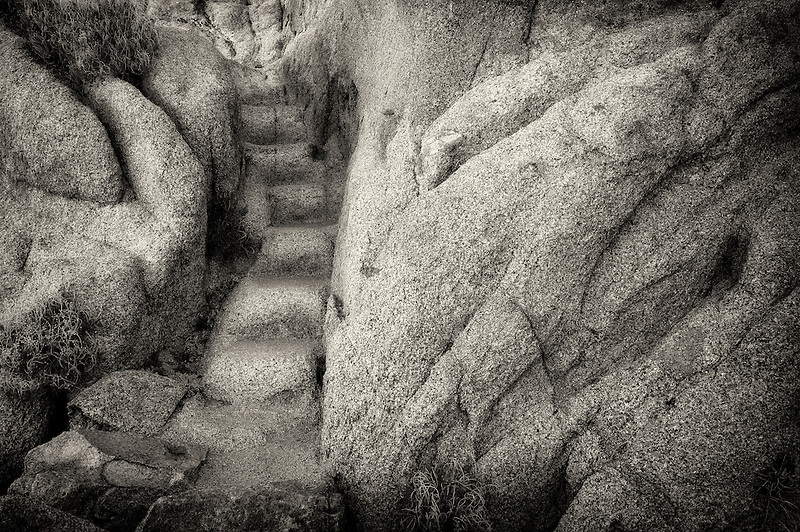 Pathway and steps carved in granite. Joshua Tree National Park, California