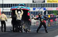 May 14, 2011; Commerce, GA, USA: NHRA funny car driver Brian Thiel throws his gloves after blowing an engine and failing to qualify for the Southern Nationals at Atlanta Dragway. Mandatory Credit: Mark J. Rebilas-