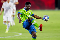 CARSON, CA - SEPTEMBER 27: Yeimar Gomez #28 of the Seattle Sounders traps a ball during a game between Seattle Sounders FC and Los Angeles Galaxy at Dignity Heath Sports Park on September 27, 2020 in Carson, California.