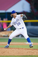 Burlington Royals relief pitcher Niklas Stephenson (25) in action against the Johnson City Cardinals at Burlington Athletic Park on July 14, 2014 in Burlington, North Carolina.  The Cardinals defeated the Royals 9-4.  (Brian Westerholt/Four Seam Images)