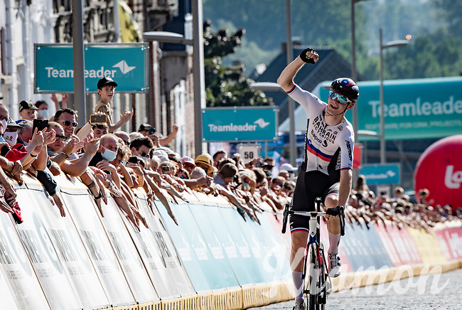 stage winner Matej Mohoric (SVN/Bahrain - Victorious) crossing the finish line<br /> <br /> 17thBenelux Tour 2021 (2.UWT)<br /> (Final) Stage 7: from Namur to Geraardsbergen (178km)<br /> <br /> ©kramon