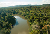Aldeia Baú, Para State, Brazil. Aerial view of the Bau River close to the village.