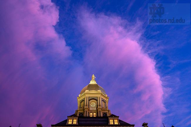 August 18, 2019; Main Building at dusk (Photo by Matt Cashore/University of Notre Dame)