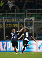Football Soccer: UEFA Champions League FC Internazionale Milano vs Tottenham Hotspur FC, Giuseppe Meazza stadium, September 15, 2018.<br /> Inter's captain Mauro Icardi celebrates (c) after scoring with his teammate Radja Nainggolan (l) during the Uefa Champions League football match between Internazionale Milano and Tottenham Hotspur at Giuseppe Meazza (San Siro) stadium, September 18, 2018.<br /> UPDATE IMAGES PRESS/Isabella Bonotto