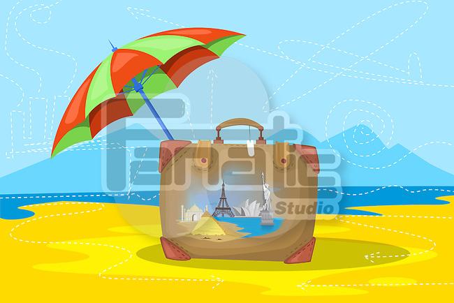 Illustrative image of luggage and umbrella representing insured world tour