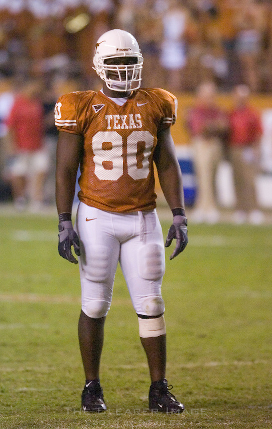 09 September 2006: Texas defender Tim Crowder pauses between plays during the Texas Longhorns 24-7 loss to the Ohio State Buckeyes at Darrell K Royal Memorial Stadium in Austin, TX.