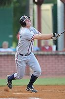 Robert Hefflinger Left Fielder Danville Braves (Atlanta Braves) swings at pitch at Joe O'Brien Stadium August 17, 2009 in Elizabethton, TN (Photo by Tony Farlow/Four Seam Images)