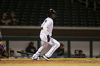 Mesa Solar Sox center fielder Daz Cameron (13), of the Detroit Tigers organization, starts down the first base line during an Arizona Fall League game against the Scottsdale Scorpions at Sloan Park on October 10, 2018 in Mesa, Arizona. Scottsdale defeated Mesa 10-3. (Zachary Lucy/Four Seam Images)