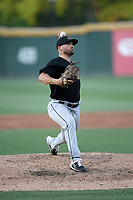 Starting pitcher Steven Moyers (17) of the West Virginia Power delivers a pitch in a game against the Greenville Drive on Friday, May 17, 2019, at Fluor Field at the West End in Greenville, South Carolina. West Virginia won, 10-4. (Tom Priddy/Four Seam Images)