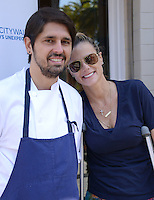 Ludo Lefebvre + wife Kristine @ the opening of his new restaurant 'LudoBird' held @ the Universal CityWalk.<br /> March 26, 2016
