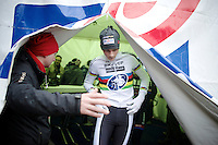 2015 CX World Champion Mathieu Van der Poel (NLD/BKCP-Powerplus) on his way to the podium as race winner<br /> <br /> Elite Men's Race<br /> Krawatencross<br /> bpost bank trofee