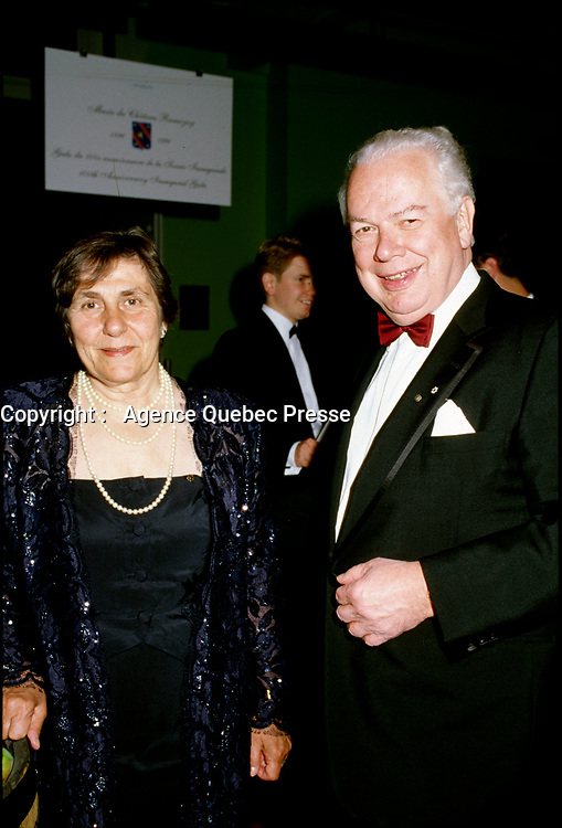Montreal, CANADA, Sept 1996  File Photo of Bernard Lamarre when he was President of SNC-Lavallin and his wife.<br /> <br /> Lamarre commented this February 2015 on the criminal fraud accusations against the company he founded.<br /> <br /> <br /> Photo : Agence Quebec Presse - Pierre Roussel