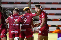 26th September 2020; Toulon, France; European Challenge Cup Rugby, semi-final; RC Toulon versus Leicester Tigers;  Bryce Heem (RC Toulon) and Sonatane Takulua (RC Toulon) celebrate a try