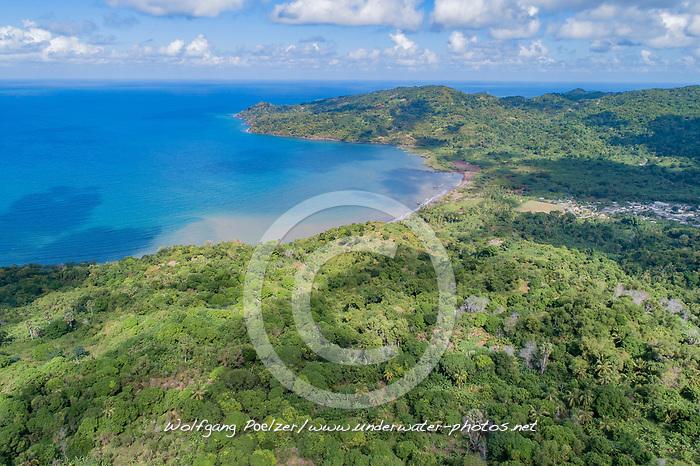Luftaufnahme der SuedWest Spitze von Mayotte mit Cani Bay, Indischer Ozean / Aerial View Mayotte with Cani Bay, South West Coast, Indian Ocean