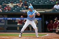 Michael Busch (15) of the North Carolina Tar Heels at bat against the Florida State Seminoles in the 2017 ACC Baseball Championship Game at Louisville Slugger Field on May 28, 2017 in Louisville, Kentucky. The Seminoles defeated the Tar Heels 7-3. (Brian Westerholt/Four Seam Images)