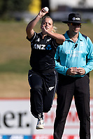 4th April 2021; Bay Oval, Taurange, New Zealand;  White Ferns Jess Kerr bowls during the 1st women's ODI White Ferns versus Australia Rose Bowl cricket match at Bay Oval in Tauranga.